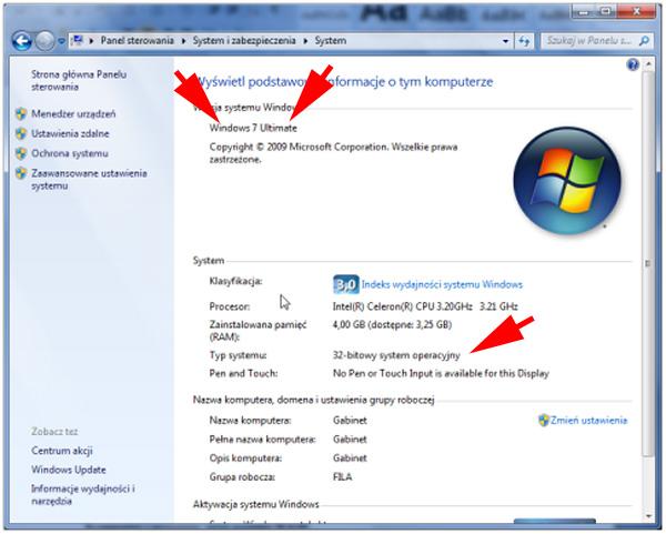 Wersja Windows w Panelu sterowania