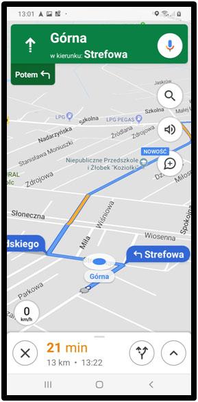 Jazda wg nawigacji GPS